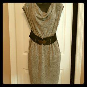 Rue 21 gray and black belted dress small